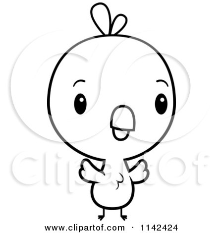 Cartoon Clipart Of A Black And White Cute Baby Chick ...