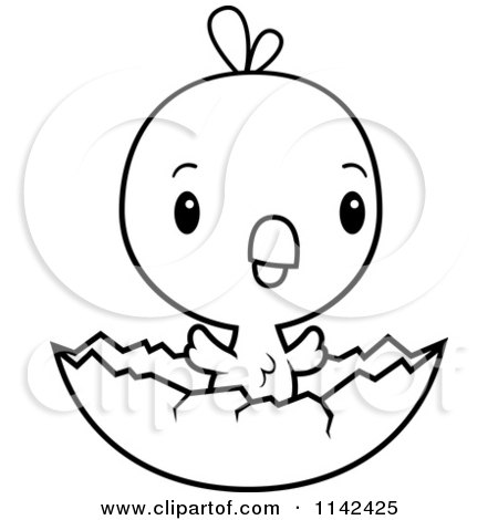 Cartoon Clipart Of A Black And White Cute Baby Chick Hatching ...