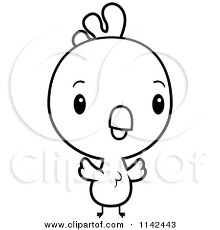 Cartoon Clipart Of A Black And White Cute Baby Rooster Chick - Vector Outlined Coloring Page by Cory Thoman