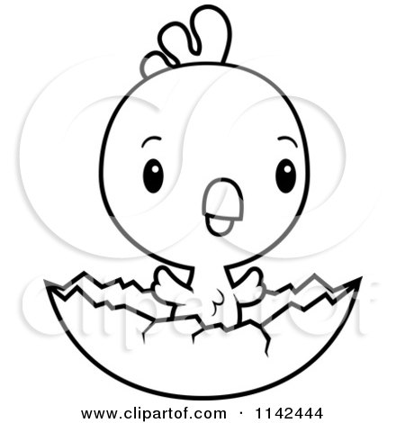 Cartoon Clipart Of A Black And White Cute Baby Rooster Chick Hatching - Vector Outlined Coloring Page by Cory Thoman