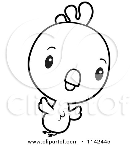 Cartoon Clipart Of A Black And White Cute Baby Rooster Chick Flying - Vector Outlined Coloring Page by Cory Thoman