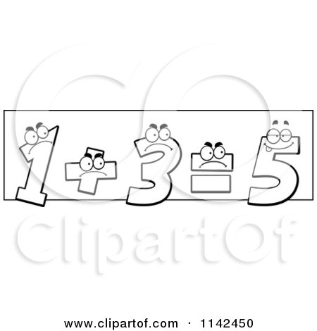 Cartoon Clipart Of Black And White One And Three Adding Up And Showing The Incorrect Answer Of Five - Vector Outlined Coloring Page by Cory Thoman