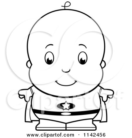 Cartoon Clipart Of A Black And White Cute Baby Boy Super Hero - Vector Outlined Coloring Page by Cory Thoman