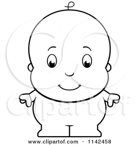Cartoon Clipart Of A Black And White Cute Baby Boy In Blue