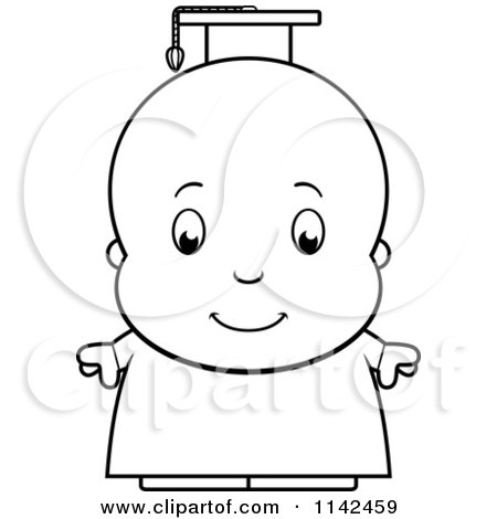 Cartoon Clipart Of A Black And White Cute Baby Boy Professor Or ...