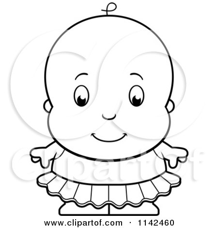 Cartoon Clipart Of A Black And White Cute Ballerina Baby Girl In A Tutu - Vector Outlined Coloring Page by Cory Thoman