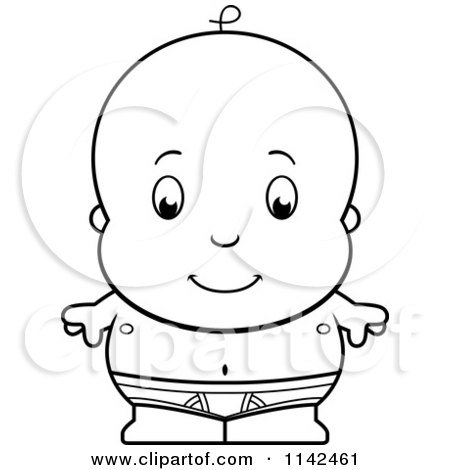 cartoon clipart of a black and white cute baby boy in tighty