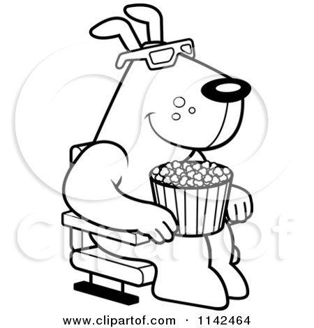 cartoon clipart of a black and white dog eating popcorn and watching a 3d movie at the theater vector outlined coloring page by cory thoman