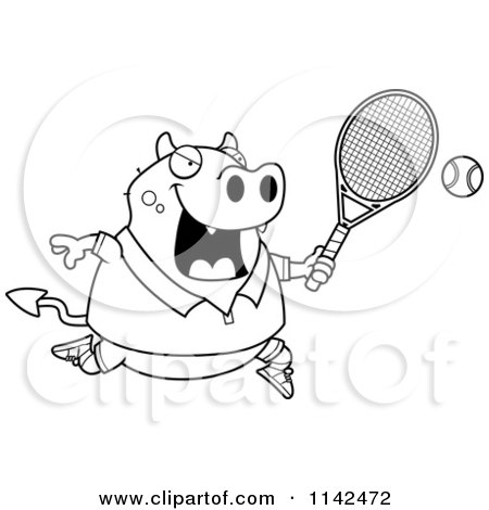 Cartoon Clipart Of A Black And White Chubby Devil Playing Tennis - Vector Outlined Coloring Page by Cory Thoman