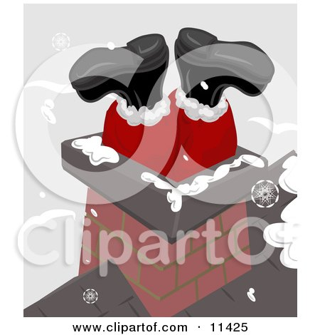 Santa's Feet Sticking up Out of a Chimney on a Roof Clipart Illustration by AtStockIllustration