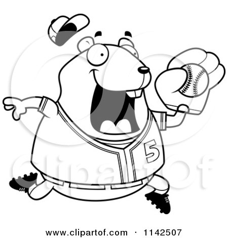 Cartoon Clipart Of A Black And White Chubby Hamster Playing Baseball - Vector Outlined Coloring Page by Cory Thoman