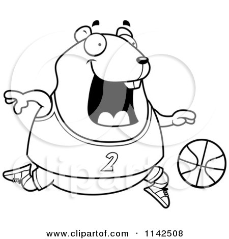 Cartoon Clipart Of A Black And White Chubby Hamster Playing Basketball - Vector Outlined Coloring Page by Cory Thoman