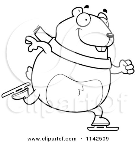 Cartoon Clipart Of A Black And White Chubby Hamster Ice Skating - Vector Outlined Coloring Page by Cory Thoman