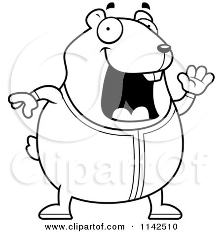 Cartoon Clipart Of A Black And White Chubby Hamster Waving In Pajamas - Vector Outlined Coloring Page by Cory Thoman