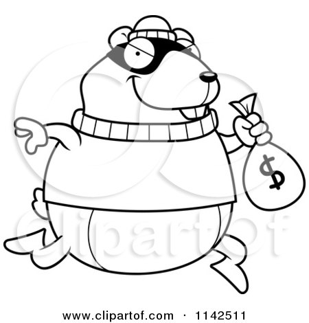 Cartoon Clipart Of A Black And White Hamster Robbing A Bank - Vector Outlined Coloring Page by Cory Thoman