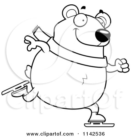 Cartoon Clipart Of A Black And White Chubby Polar Bear Ice Skating ...