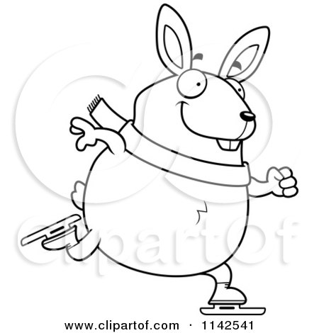 Cartoon Clipart Of A Black And White Chubby Rabbit Ice Skating ...