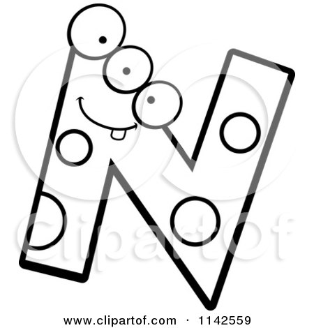 Cartoon Clipart Of A Black And White Alien Letter N Vector