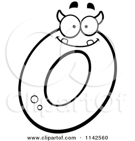 Cartoon Clipart Of A Black And White Alien Letter O Vector