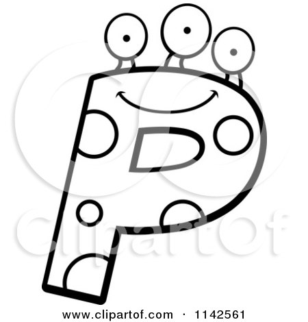 Cartoon Clipart Of A Black And White Alien Letter P