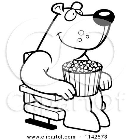 cartoon clipart of a black and white happy bear with popcorn at the movie theater vector outlined coloring page by cory thoman
