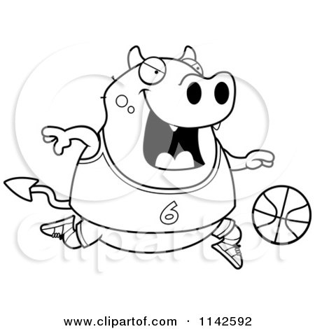 Cartoon Clipart Of A Black And White Chubby Devil Playing Basketball - Vector Outlined Coloring Page by Cory Thoman