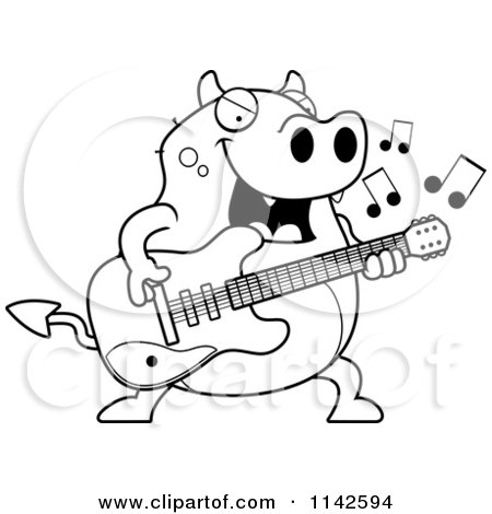 Cartoon Clipart Of A Black And White Chubby Devil Playing A Guitar - Vector Outlined Coloring Page by Cory Thoman