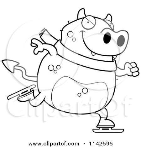 Cartoon Clipart Of A Black And White Chubby Devil Ice Skating - Vector Outlined Coloring Page by Cory Thoman