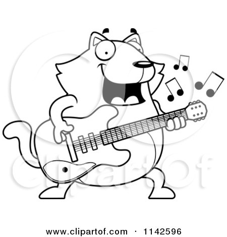 -Cartoon-Clipart-Of-A-Black-And-White-Chubby-Cat-Guitarist-Vector ...