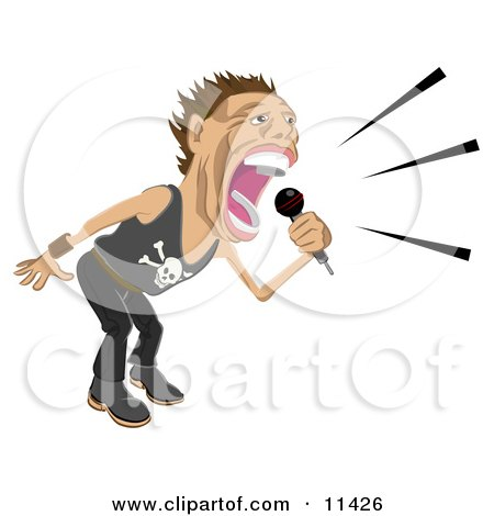 Male Rock Star Vocalist Singing and Performing During a Concert Clipart Illustration by AtStockIllustration
