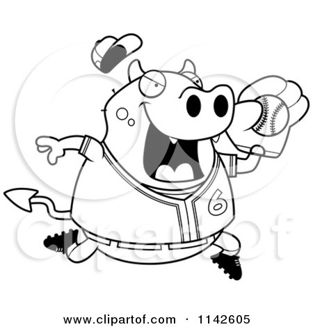 Cartoon Clipart Of A Black And White Chubby Devil Playing Baseball - Vector Outlined Coloring Page by Cory Thoman