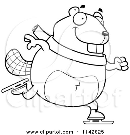 Cartoon Clipart Of A Black And White Chubby Beaver Ice Skating ...