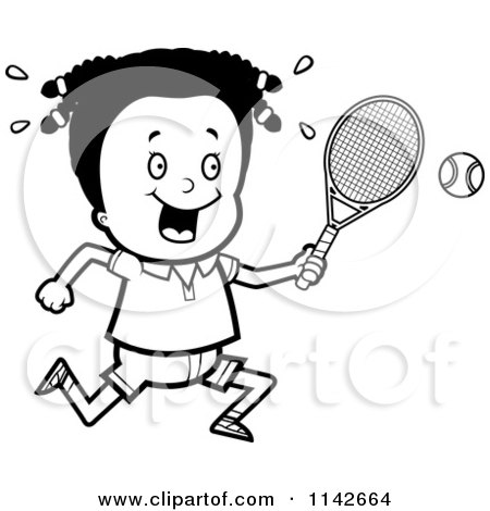 Cartoon Clipart Of A Black And White Black Tennis Girl Swinging Her
