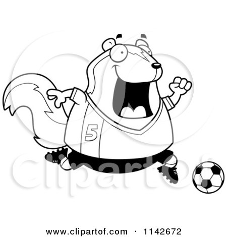 Cartoon Clipart Of A Black And White Chubby Skunk Playing Soccer - Vector Outlined Coloring Page by Cory Thoman