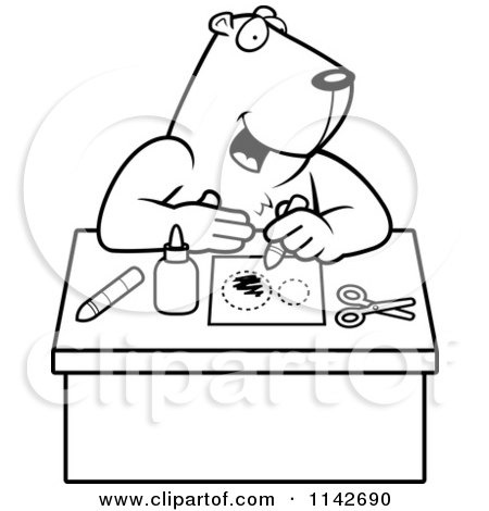 Cartoon Clipart Of A Black And White Arts Crafts Gopher