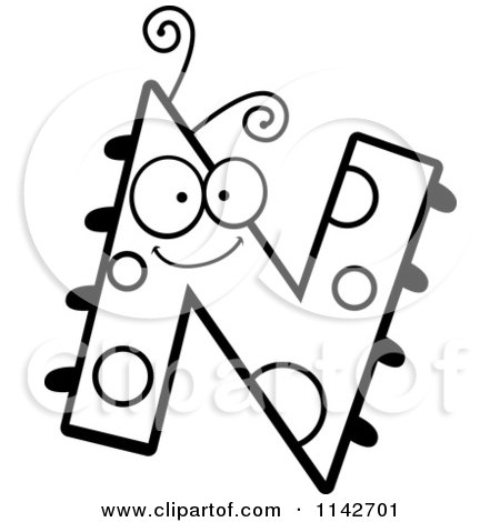 Cartoon Letter N Colouring Pages