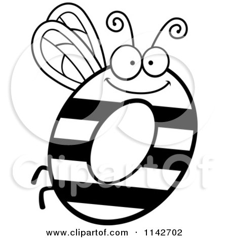 Cartoon Clipart Of A Black And White Letter O Bug