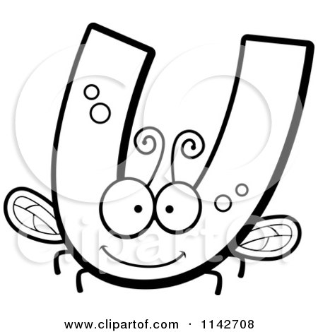 Cartoon Clipart Of A Black And White Letter U Bug - Vector Outlined Coloring Page by Cory Thoman