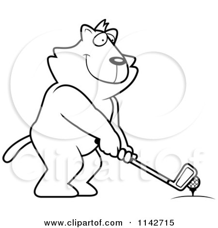 Cartoon Clipart Of A Black And White Golfing Cat Holding The Club Against The Ball On The Tee - Vector Outlined Coloring Page by Cory Thoman