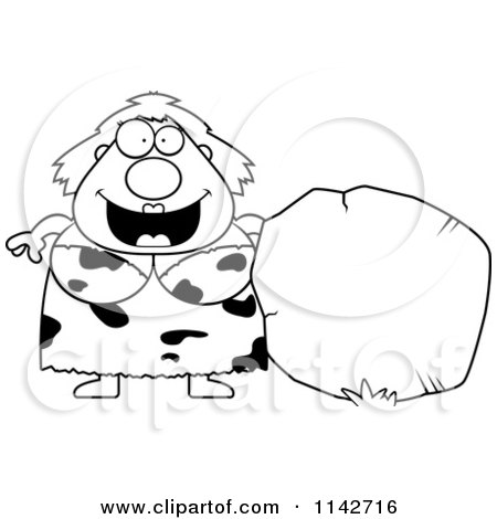 Cartoon Clipart Of A Black And White Plump Cave Woman With A Boulder - Vector Outlined Coloring Page by Cory Thoman