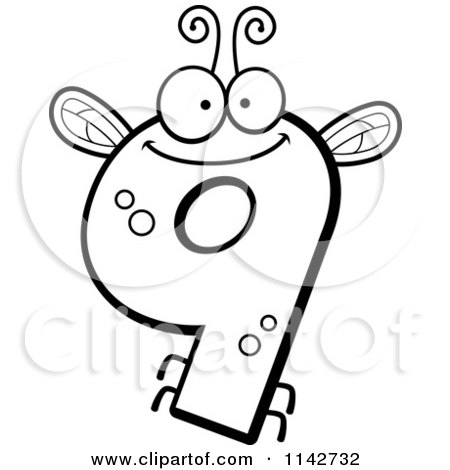 Number 9 Coloring Sheet : Cartoon clipart of a black and white bug number 9 vector