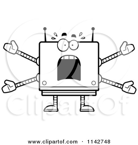 Cartoon Clipart Of A Black And White Scared Box Robot - Vector Outlined Coloring Page by Cory Thoman
