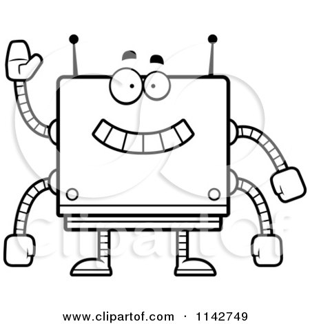 Cartoon Clipart Of A Black And White Waving Box Robot - Vector Outlined Coloring Page by Cory Thoman