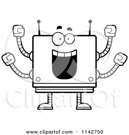 Cartoon Clipart Of A Black And White Cheering Box Robot - Vector Outlined Coloring Page by Cory Thoman
