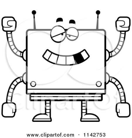 Cartoon Clipart Of A Black And White Dumb Box Robot - Vector Outlined Coloring Page by Cory Thoman