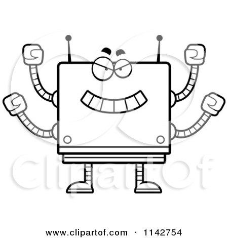 Cartoon Clipart Of A Black And White Bully Box Robot - Vector Outlined Coloring Page by Cory Thoman