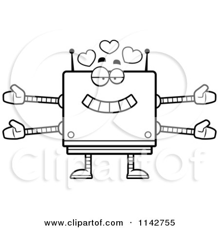 Cartoon Clipart Of A Black And White Loving Box Robot - Vector Outlined Coloring Page by Cory Thoman