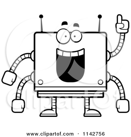 Cartoon Clipart Of A Black And White Smart Box Robot - Vector Outlined Coloring Page by Cory Thoman