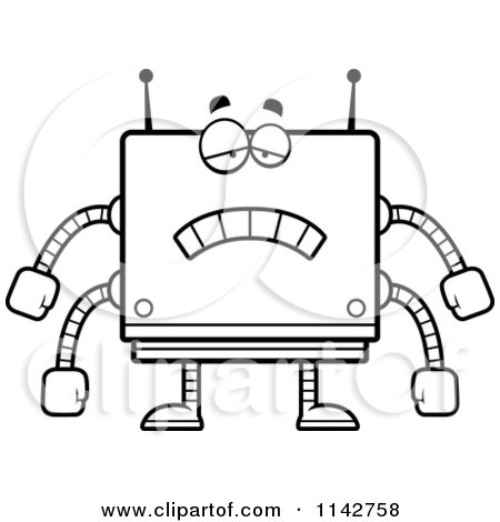 Cartoon Clipart Of A Black And White Sad Box Robot - Vector Outlined Coloring Page by Cory Thoman