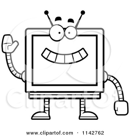 Cartoon Clipart Of A Black And White Waving Screen Robot - Vector Outlined Coloring Page by Cory Thoman